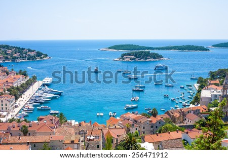 Hvar city and harbor from the spanish fortress in Croatia - stock photo
