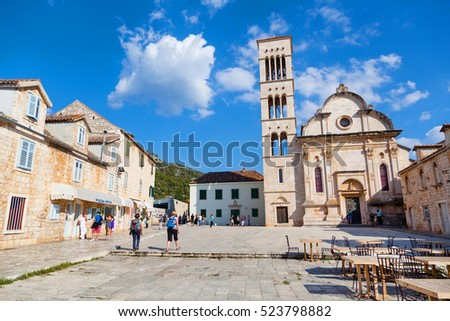 Hvar town main square in front of the St Stephen Cathedral on HVAR ISLAND, CROATIA - 26 SEPTEMBER, 2016