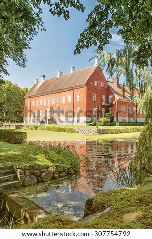 Hviderup slott is a castle in Eslov Municipality, Scania, in southern Sweden. - stock photo