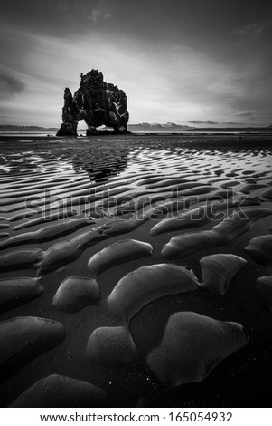 Hvitserkur in Iceland - stock photo