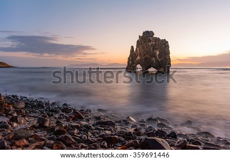 Hvitserkur is a spectacular rock in the sea on the Northern coast of Iceland - stock photo