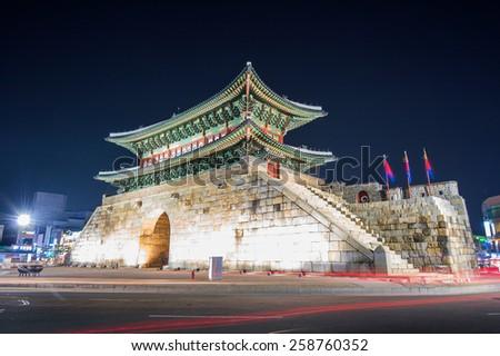 Hwaseong fortress in Suwon,Korea - stock photo