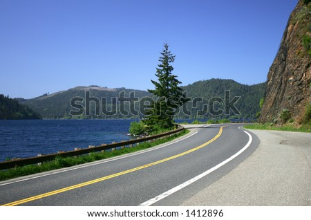 HWY 101, Hurricane Ridge, Crescent Lake, Olympic Peninsula, WA - stock photo