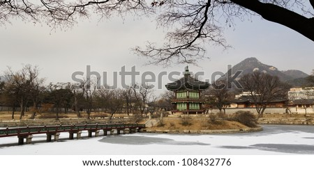 Hyangwon jeong - Ancient pavilion pagoda constructed in lotus ice pond,in Gyeongbokgung Palace, Seoul, South Korea. - stock photo