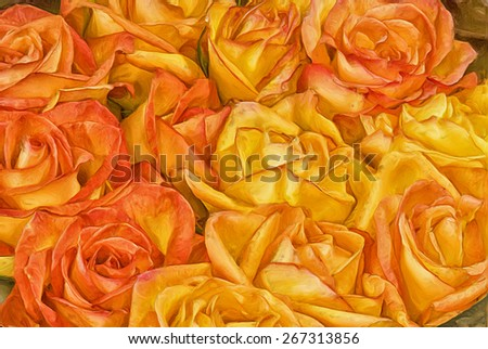 Hybrid tea roses, orange and yellow. Digital oil painting - stock photo