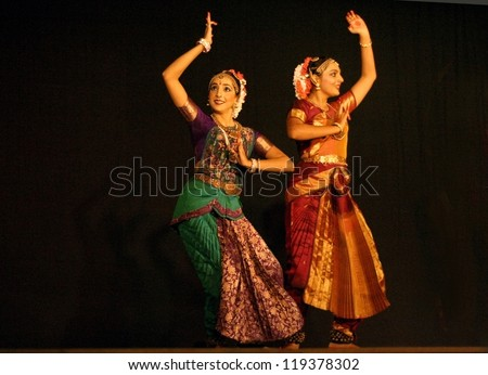 HYDERABAD,INDIA-NOVEMBER 06:Disciples of Bharatanatyam exponent Jyotsna Shourie perform Face to Face of mythological characters Sita and Draupadi dance dialogue on November 06,2012 in Hyderabad,India.