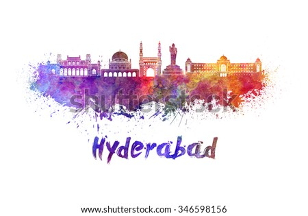 Hyderabad skyline in watercolor splatters with clipping path - stock photo
