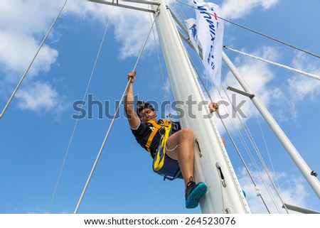 HYDRA, GREECE - CIRCA OCT, 2014: Sailors participate in sailing regatta 12th Ellada Autumn 2014 among Greek island group in the Aegean Sea, in Cyclades and Argo-Saronic Gulf. - stock photo