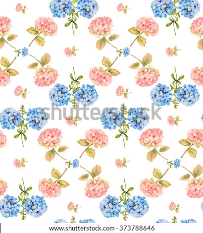 Hydrangea and blue jasmine watercolor floral seamless pattern - stock photo