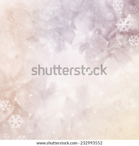 hydrangeas and snow on mulberry paper texture for christmas background