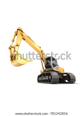 Hydraulic Excavator with bucket at foreground. 3d illustration. Front view. Fish eye. Isolated on white