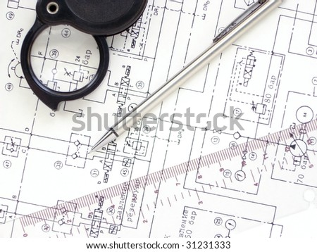 hydraulic industrial drawings - stock photo