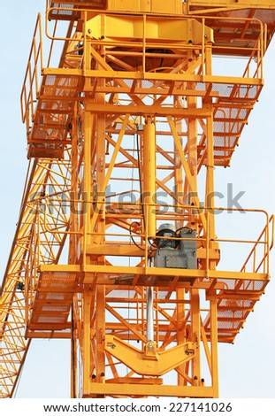 Hydraulic Jacks of Tower Crane front view - stock photo