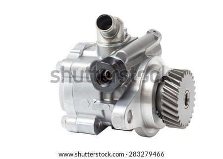 hydraulic power steering pump on a white background engine parts  - stock photo