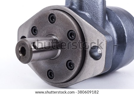 Hydraulic System parts assembly isolated on white background - stock photo