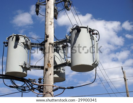 Hydro Pole Transformer - stock photo