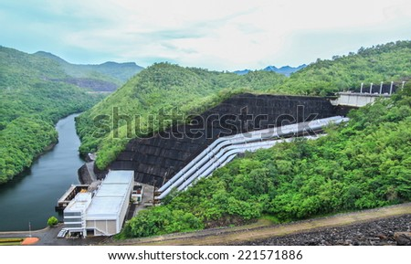Hydro Power Electric Dam in Thailand, The large dam to generate electricity.  - stock photo