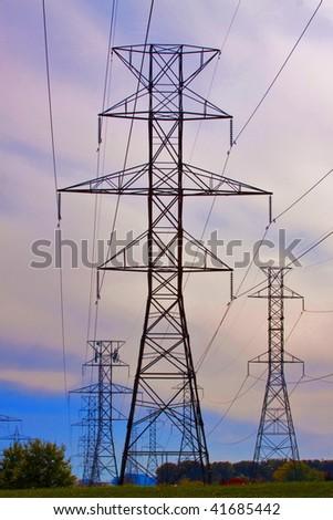 hydro power lines - stock photo
