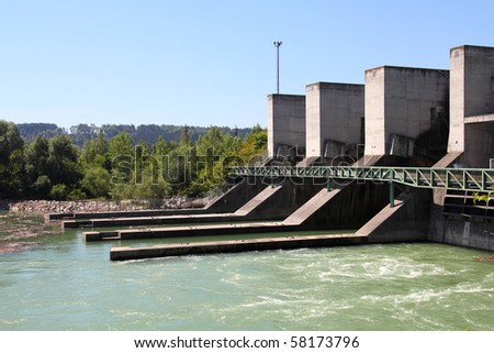 Hydro power plant on Traun river in Marchtrenk, Austria. Concrete dam. - stock photo