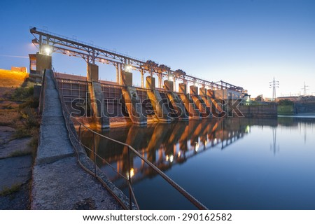 hydro Power Station,dam,sunrise - stock photo