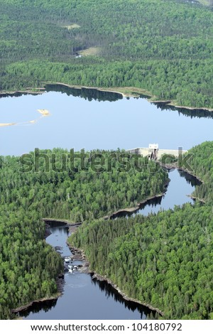 hydroelectric dam taken from a plane - stock photo
