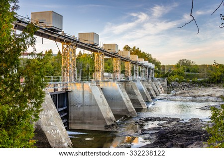 Hydroelectric Plant at Sunset - stock photo