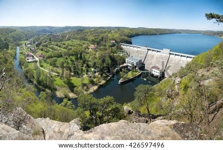 Hydroelectric power dam on the Vranov, Czech Republic, South Moravia - stock photo