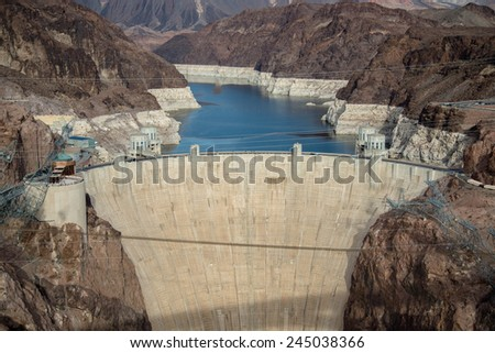 Hydroelectric Power Plant at Hoover dam and Lake Mead in Las Vegas area - stock photo
