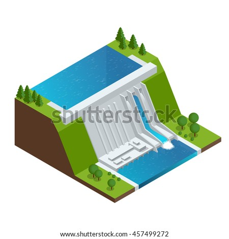 Hydroelectric Power Plant. Factory Electric. Water Power Station Dam Electricity Grid Energy Supply Chain. Flat 3d Illustration Isometric Building