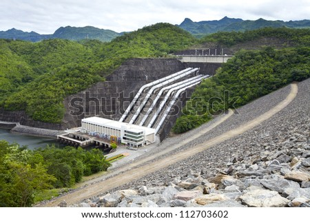 Hydroelectric power plant from the dam in Thailand - stock photo