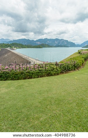 Hydroelectric power station on Cheow Lan Dam (Ratchaprapha Dam) in Thailand(Un-focus image) - stock photo