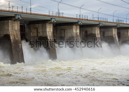 Hydroelectric power station. Water dumping