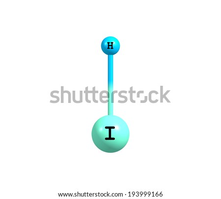 Hydrogen iodide (HI) is a colorless gas that reacts with oxygen to give water and iodine - stock photo