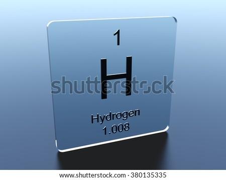 Hydrogen Symbol On Glass Square Stock Illustration 380135335