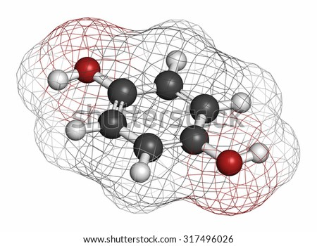 Hydroquinone reducing agent molecule. Used in development of photographic film. Atoms are represented as spheres with conventional color coding: hydrogen (white), carbon (grey), oxygen (red). - stock photo