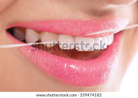 Hygiene treatment dental flossing close up