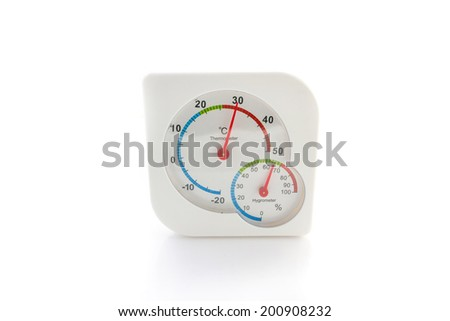 hygrometer, thermometer all in one isolated on a white background - stock photo