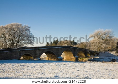 Hyndford Bridge, Lanark, Scotland in winter. - stock photo