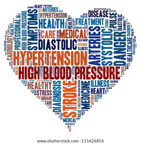Hypertension in word collage - stock photo