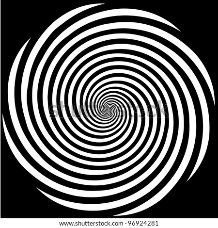 Hypnosis Spiral Design Pattern. Concept for hypnosis, unconscious, chaos, extra sensory perception, psychic, stress, strain, optical illusion, headache, migraine. Black background. - stock photo