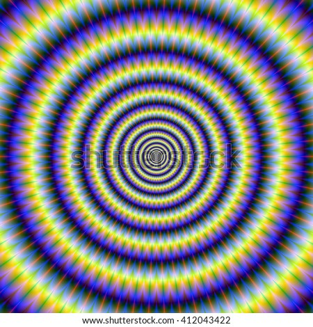 Hypnotic Concentric Rings / An optically challenging fractal design with a concentric ring design in blue, yellow, and green. - stock photo