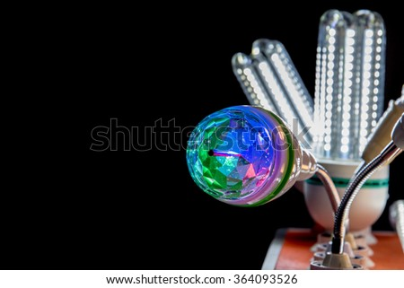 hypnotic neon lamp on the black background