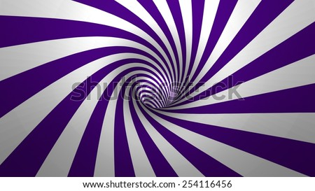 Hypnotic spiral or swirl making purple and white background in 3D - stock photo