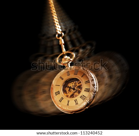 Hypnotism concept, gold pocket watch swinging used in hypnosis treatment - stock photo