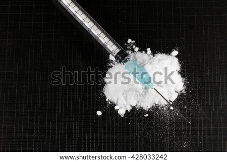 hypodermic syringe with pure heroine
