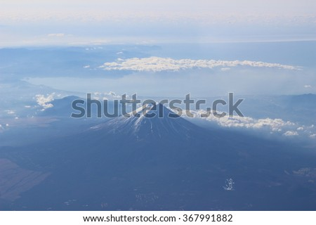 I am Above Clouds and Fuji Mount. - stock photo