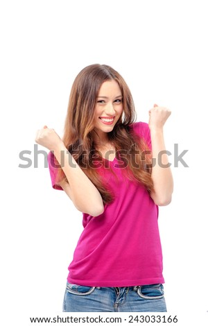 I am winner! Happy beautiful girl with her fists up, isolated on white - stock photo