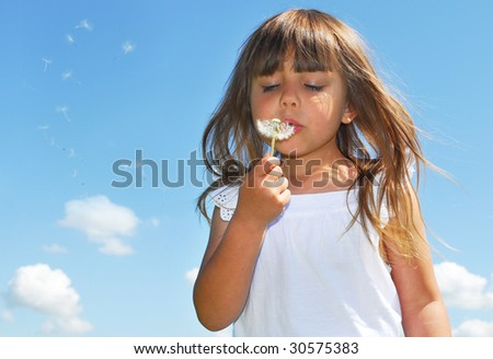 I and my dandelion - stock photo