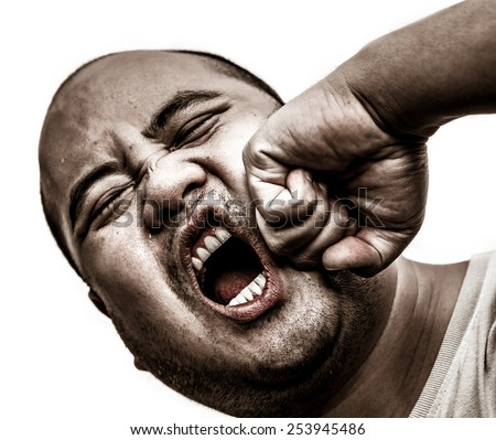 I bald head man got punch in the face in isolated background, in heavy-grunge brawl concept - stock photo