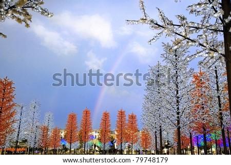 I-city with a rainbow - stock photo